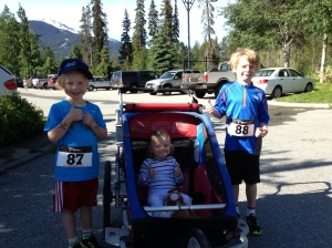 Whistler Valley 5K.  There were almost always 2/3 kids in the stroller/snack transportation system