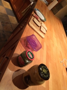 Prep kitchen. Note the relish.