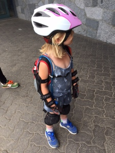 To be fair, she didn't have to wear a full face helmet.